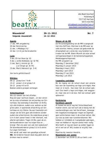 Nieuwsbrief 30-11-2012 Nr: 7