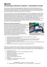 Användning av Ethernet i industrin - erfarenheter och tips - Solectro