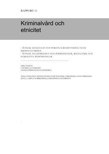 Kriminalvård och etnicitet - Kriminalvården
