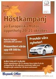 på Europeiska Motor, öppethelg 20-21 oktober - TOYOTA GÄVLE