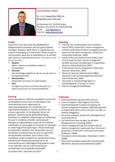de cv of het cv itgebreide versie van het CV Klik hier PDF   Joop Vorst