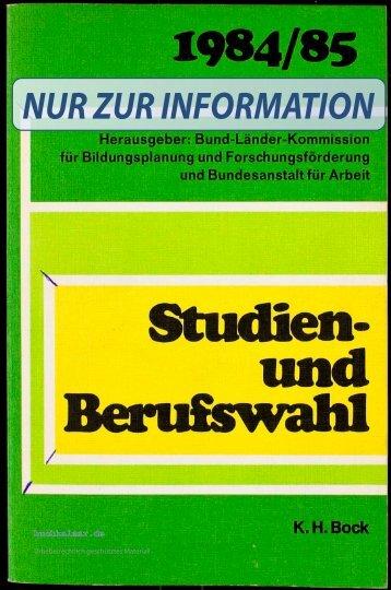 K.H. Bock Studien- und Berufswahl