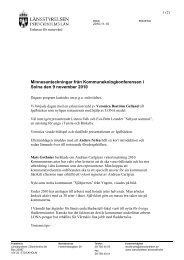 Minnesanteckningar - Länsstyrelsen i Stockholms län