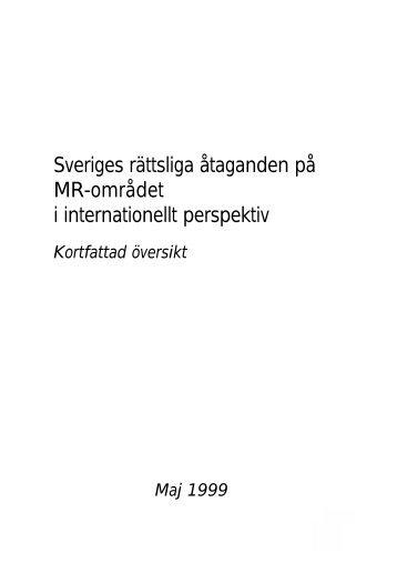 Sveriges rättsliga åtaganden på MR-området i internationellt ...
