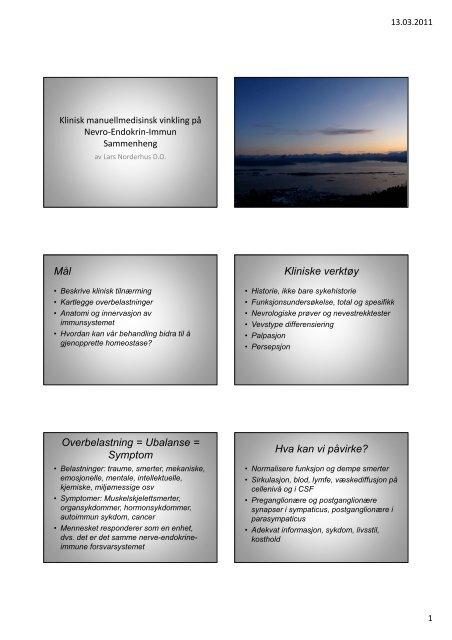 Nevroimmuneendokrine sammenhenger - Manuellterapi