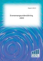Evenemangsundersökning 2003 - ÅSUB