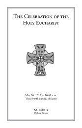 The Celebration of the Holy Eucharist - St. Luke's Episcopal Church