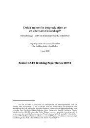 1 Senior CATS Working Paper Series 2007:2 - StudentCorner