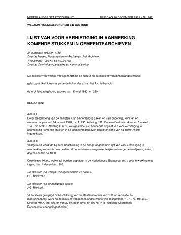 lijst van voor vernietiging in aanmerking komende stukken in ...