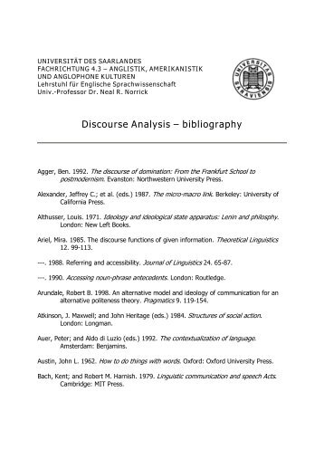 Discourse Analysis – bibliography - Online QDA