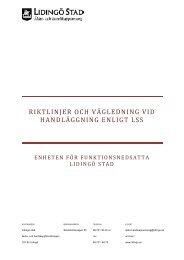 Riktlinjer och vägledning vid handläggning enligt LSS - Lidingö stad