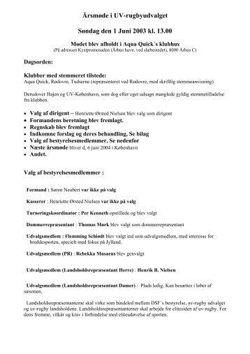 Referat fra årsmøde d. 01 Juni 2003 - Uv-Sport