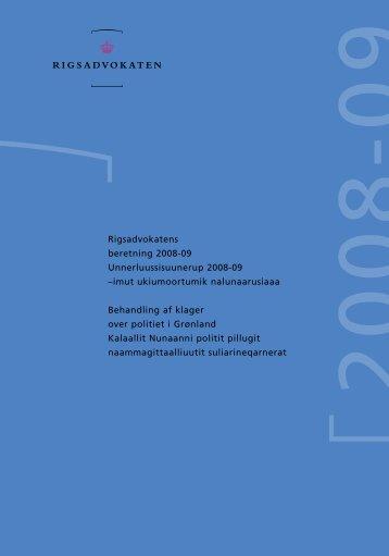 Rigsadvokatens beretning 2008-09 Unnerluussisuunerup 2008-09 ...