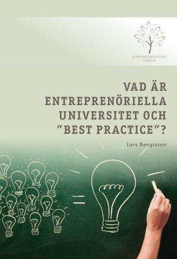 """Vad är entreprenöriella uniVersitet och """"best practice ..."""