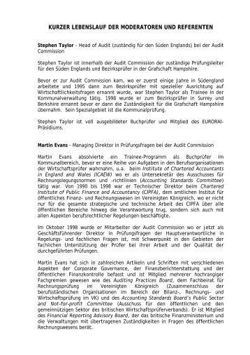 kurzer lebenslauf der moderatoren und referenten euroraiorg - Kurzer Lebenslauf