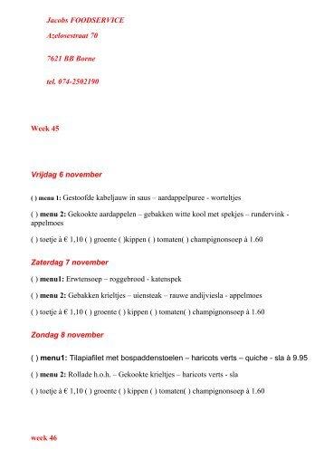 MAALTIJDEN à 6,00 €URO P - Jacobs Foodservice
