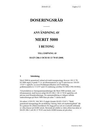 Merit 5000 Doseringsråd för användning i betong - Merox