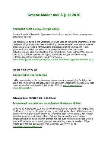 Groene ladder mei & juni 2010 - Wijkcentrum Vondelpark ...