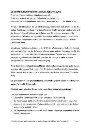 F.Frischenschlager MEMORANDUM zur Volksbefragung ... - LIF