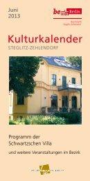 Kulturkalender Juni - Schwartzsche Villa