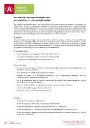 Het Stedelijk Onderwijs Antwerpen zoekt een marketing - CultuurNet ...