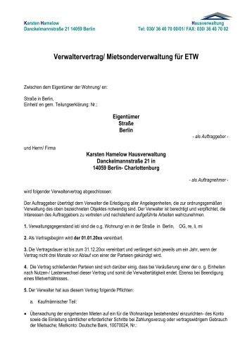 Sondereigentumsverwaltungsvertragsmuster - Hausverwaltung