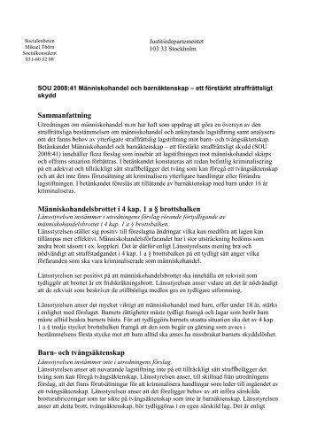 SOU 2008:41 Människohandel och barnäktenskap - mmhf.se