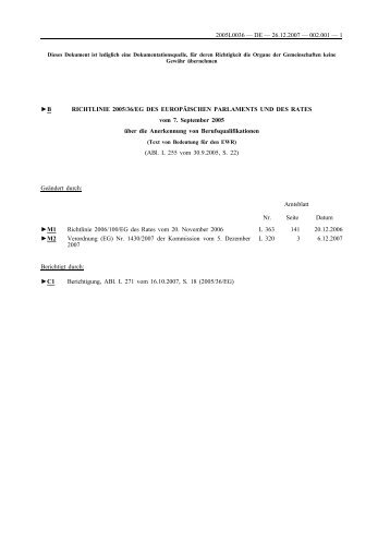 Europäische Richtlinie 2005/36/EG zur Anerkennung von - BDP
