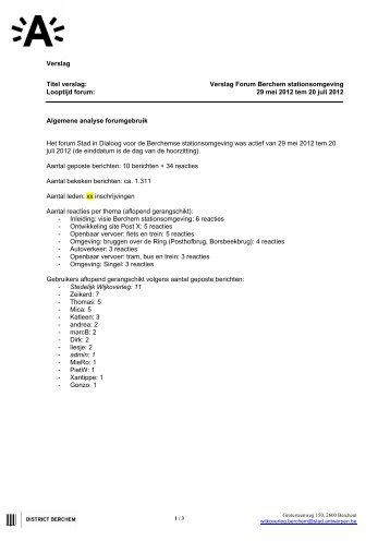Berchem stationsomgeving Verslag Online forum juli 2012 - AG ...