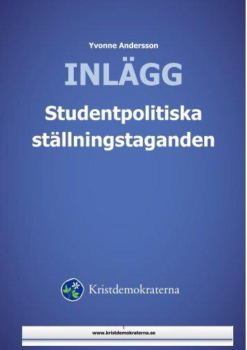 Studentpolitiska ställningstaganden (PDF) - Kristdemokraterna