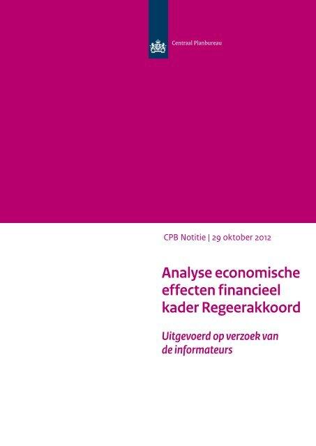 CPB-analyse economische effecten financieel kader Regeerakkoord