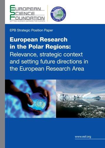 European Research in the Polar Regions: Relevance, strategic ...