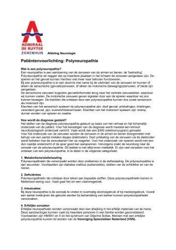 Patiëntenvoorlichting: Polyneuropathie - Neurologie Zeeland