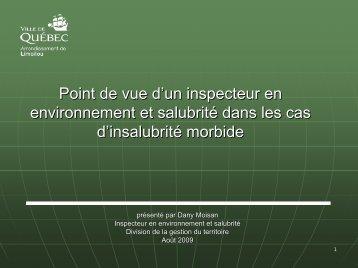 Point de vue d'un inspecteur en environnement et salubrité dans les ...