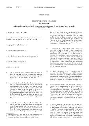 Directive 2009/50/CE du Conseil du 25 mai 2009 ... - EUR-Lex