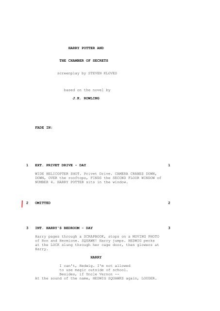 HARRY POTTER AND THE CHAMBER OF SECRETS screenplay