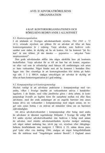 AVD. II ADVOKATRÖRELSENS ORGANISATION - Advokatsamfundet