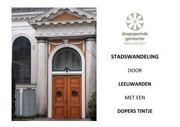 STADSWANDELING - Doopsgezinde Gemeente Leeuwarden