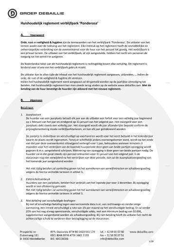 Huishoudelijk reglement verblijfpark 'Ponderosa'