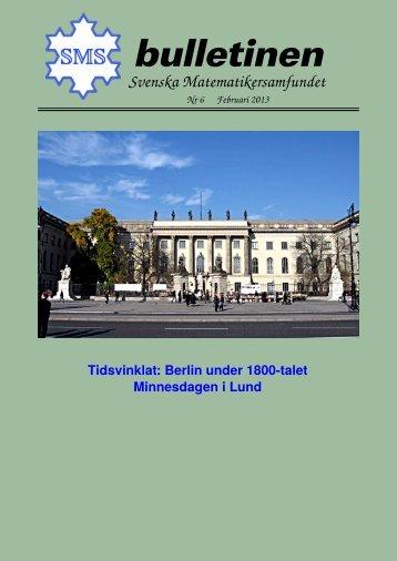 Februari 2013 - Svenska matematikersamfundet
