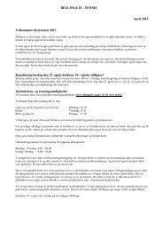 BELLINGE IF - TENNIS April 2013 Velkommen til sæsonen 2013 ...