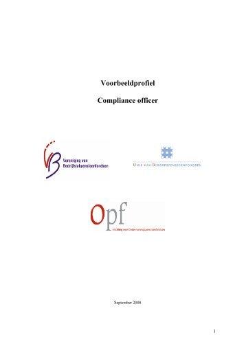 Voorbeeldprofiel Compliance officer - Pensioenfederatie