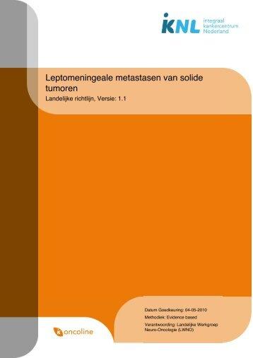 Leptomeningeale metastasen van solide tumoren - Med-Info