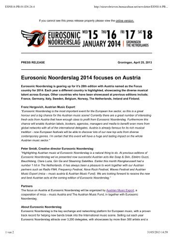 Download - Eurosonic Noorderslag