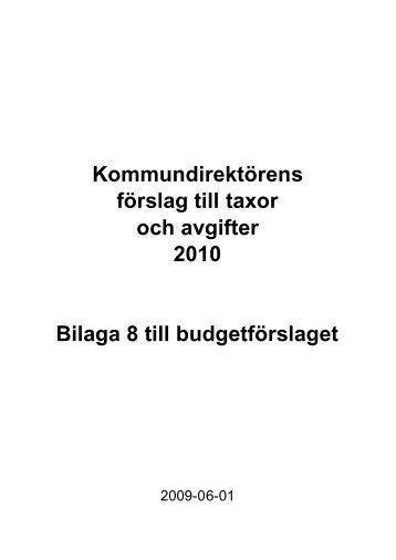 04-Budgetförslag Bilaga 8 Taxor och avgifter 2010.pdf - Värmdö
