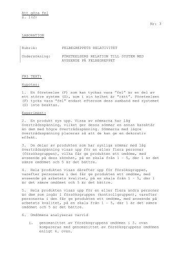 Att göra fel s. 1(2) Nr: 3 LABORATION Rubrik: FELBEGREPPETS ...