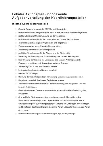 Lokaler Aktionsplan Schöneweide Aufgabenverteilung der ...