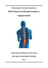 Råd til deg som skal gjennomgå en ryggoperasjon