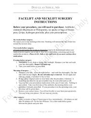 facelift and necklift surgery instructions - Northwestern Facial Plastic ...