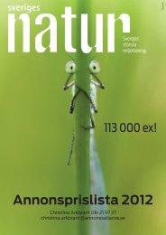 Annonsprislista 2012 - Sveriges Natur - Naturskyddsföreningen